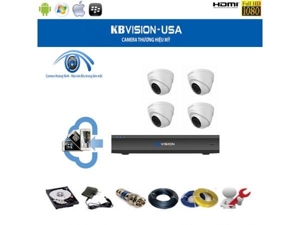 Trọn bộ camera KBVision 4 Kênh KX-1004C 1.0 Megapixel