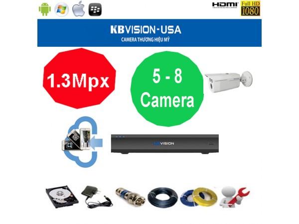 Trọn bộ camera KBVision 8 Kênh KX-1303C 1.3 Megapixel